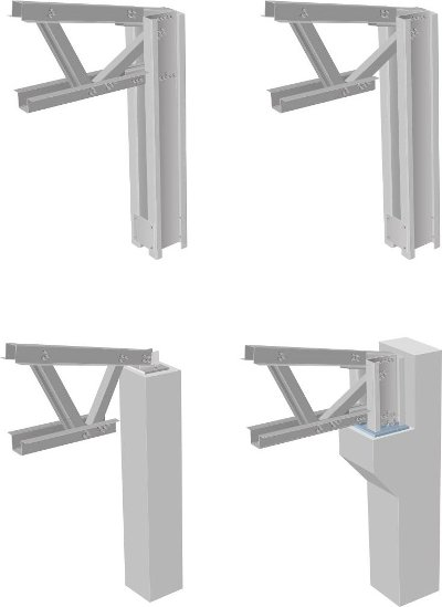 Alternatives of connection between roof and pillars
